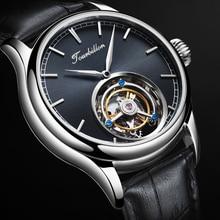 Tourbillon reloj para hombre, GUANQIN, Original, esqueleto, zafiro mecánico, Masculino