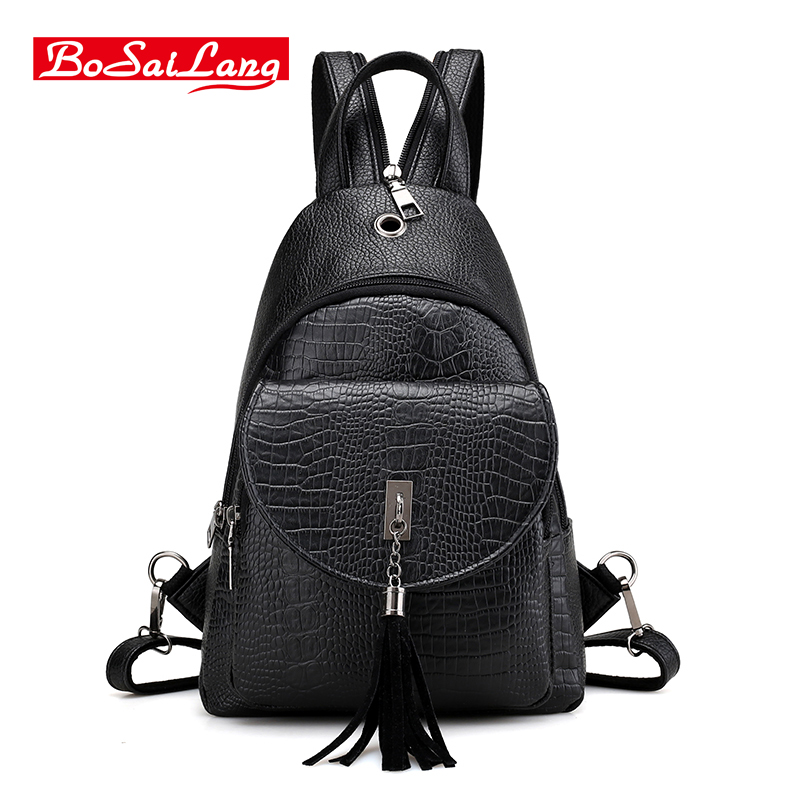 Bosailang Brand Women Bag Soft PU Leather Handsome Girl Shoulder Bag Alligator Women Backpack Fashion School