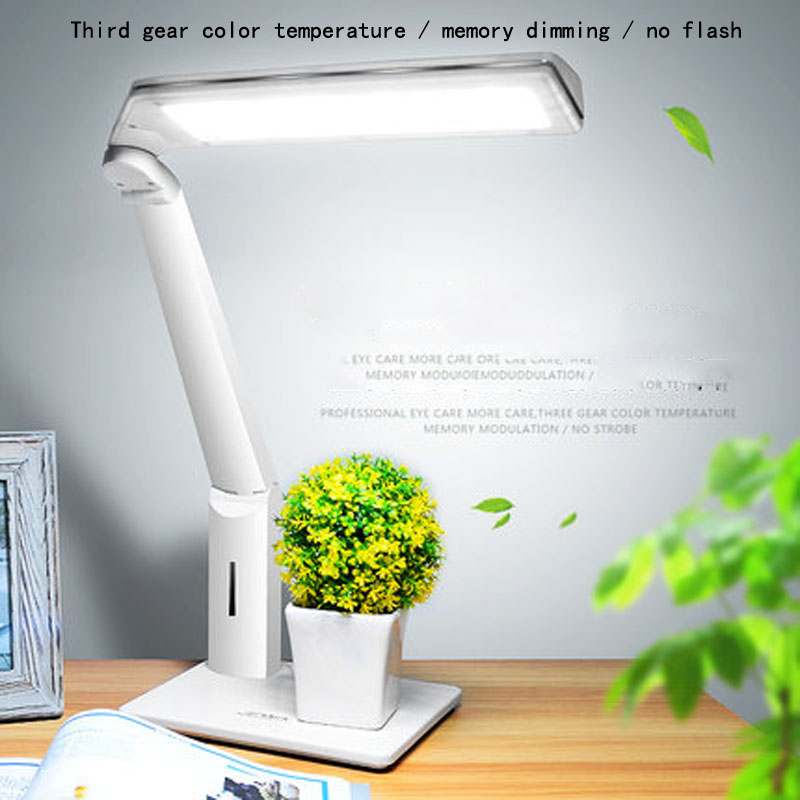где купить vusum LED eye protection desk lamp three block color temperature stepless dimming office desk study bedroom bedside writing lamp по лучшей цене