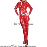 Сексуальный латекс куртка рубашка Топ и резиновая джинсы брюки леггинсы с Ремни YF 0150