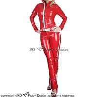 Sexy Latex Jacket Shirt Top And Rubber Jeans Pants Trousers Leggings With Belts YF 0150