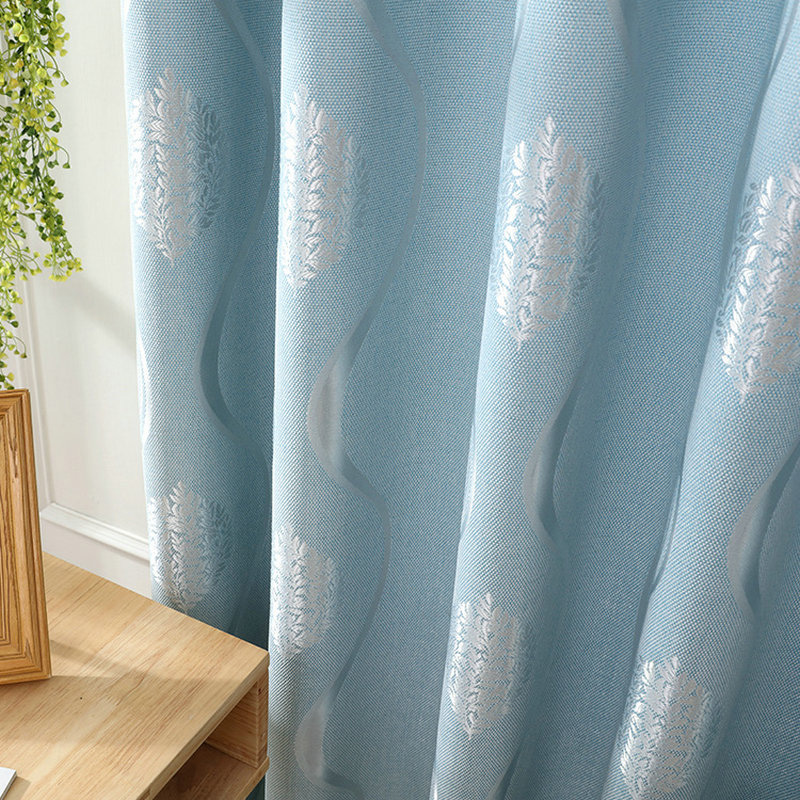 Europe Style Curtain Luxury Wave Floral Simple Curtain For