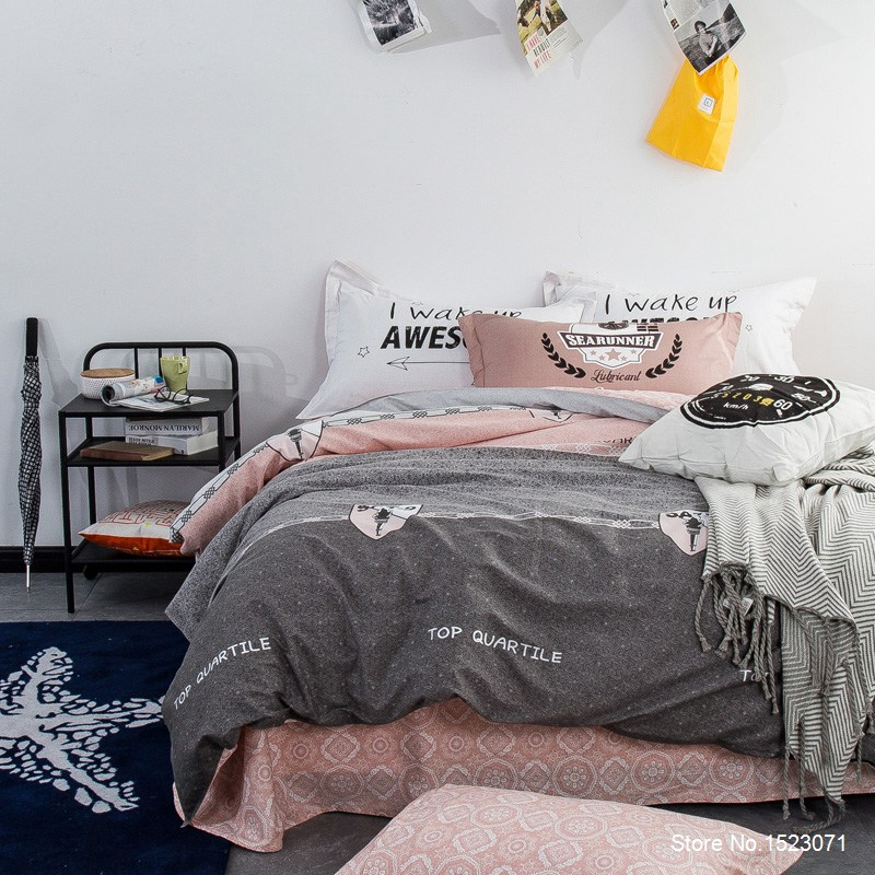 Gray and pink indian boho style bed linen sheet Cotton fabric     duvet cover  bedding set   bedspread