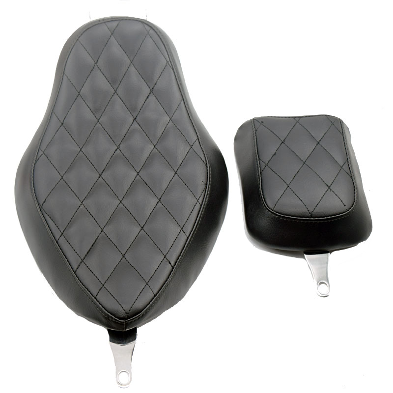 For Harley Sportster XL883 XL1200 2004-2015 XL 883 1200 Motorcycle Black Leather Diamond Stitched Driver and Rear Passenger Seat