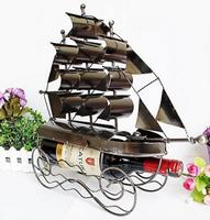 vintage retro classic iron sailing boat wine holder hand made craft model for home coffee bar ornaments decoration