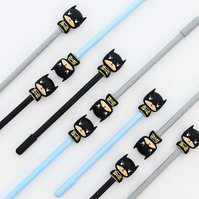 4 Pcs 0 5mm Marvel Superhero Alliance Batman Black Gel Ink Pen Cute Cartoon Super