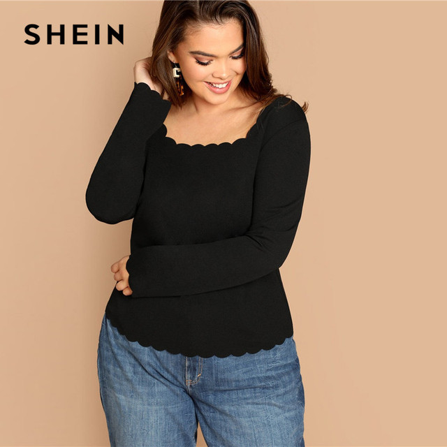 SHEIN Plus Size Long Sleeve Scallop Trim Square Collar Women Black Slim Fit Top Tees Casual Solid T Shirt 2