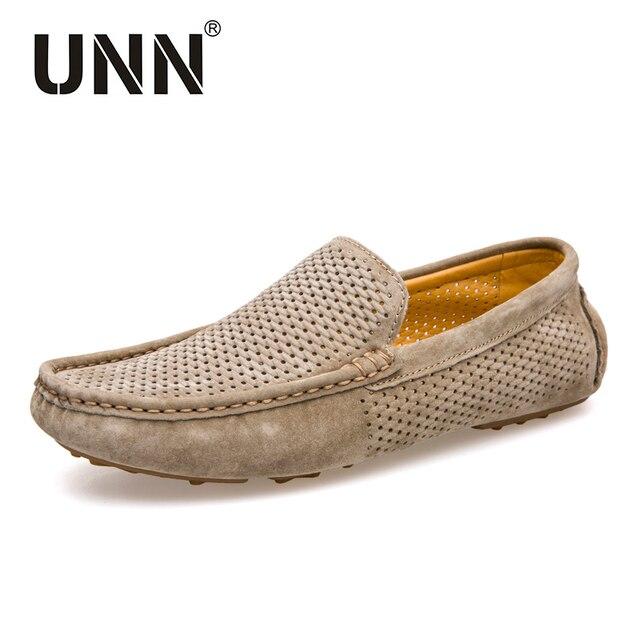 Hombre moda loafers de cuero, mocasines hombre zapatos transpirables.