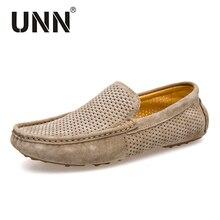 UNN mocasines suaves de estilo veraniego para hombre, zapatos de piel auténtica de alta calidad, planos, Gommino, para conducir