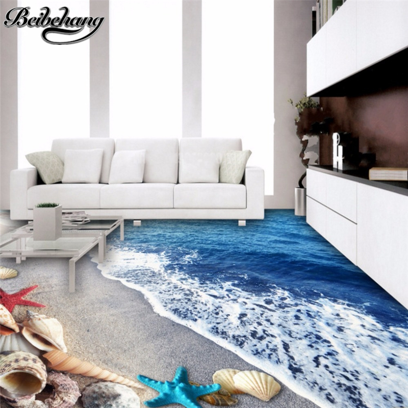 beibehang Custom large floor decoration painting beach shell 3D stereo painting room bedroom shopping 3D flooring floor tiles beibehang custom photo floor painted