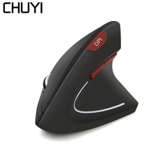 лучшая цена CHUYI Wireless Vertical Mouse Ergonomic LED Backlight 1600DPI Gaming Mouse With Wrist Rest Mause Pad For Computer Mice Laptop