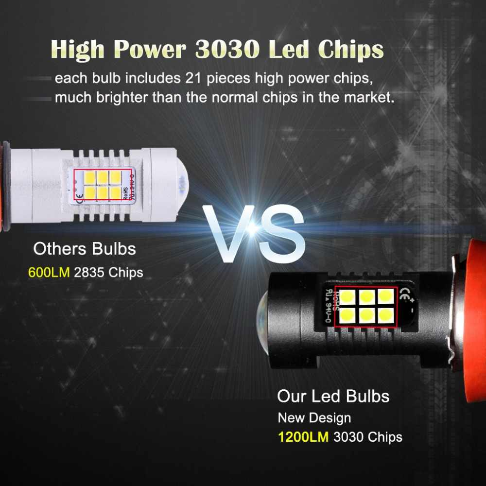 2pcs Fog Lamp H11 LED H8 HB3 9005 HB4 9006 LED Bulbs 1200LM 6000K White Car Driving Daytime Running Lights Auto Lamp 12V 24V