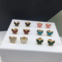 Brand Pure 925 Sterling Silver Jewelry For Women Gold Color Earrings Colorful Butterfly Design Wedding Earrings Necklace Bangle(China)