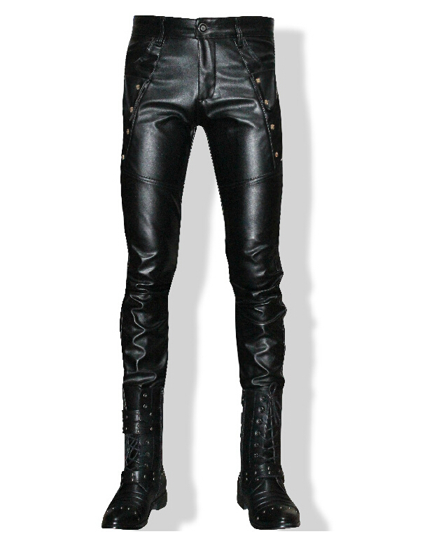 Men's brand fashion decoration PU leather pants tide locomotive personality Korean hair stylist tight pants trousers costumes