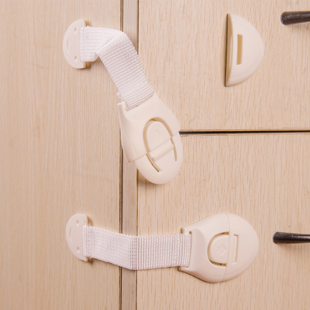 10Pcs Plastic Protection From Children Safety Lock Cabinet Door Drawers Toilet Blockers Kids Baby Security Care Child Lock Strap