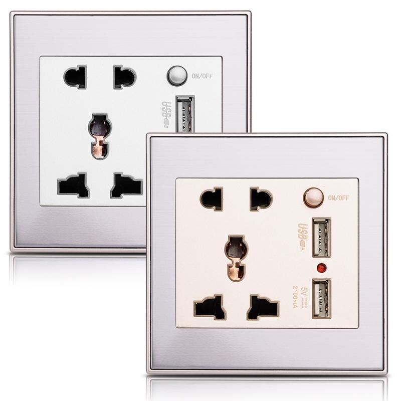 Universal Dual <font><b>USB</b></font> <font><b>Wall</b></font> Socket Panel AC 110-265V 10A <font><b>Outlet</b></font> Power <font><b>Charger</b></font> DC Power Adapter Plug <font><b>Outlet</b></font> Panel w/Switch for Home