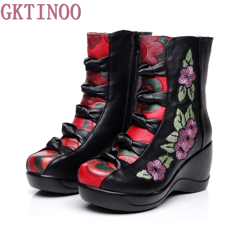 Women s Boots 2019 Autumn Winter New Genuine Leather Wedges Shoes Embroidered Flower Medium leg warm