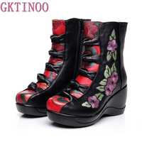 Women's Boots 2019 Autumn Winter New Genuine Leather Wedges Shoes Embroidered Flower Medium-leg warm High Heel Boots