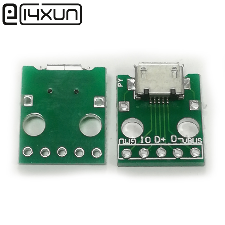EClyxun 1pcs <font><b>Micro</b></font> <font><b>USB</b></font> jack to DIP adapter 5pin Female socket <font><b>Connector</b></font> B Type <font><b>PCB</b></font> board Converter image