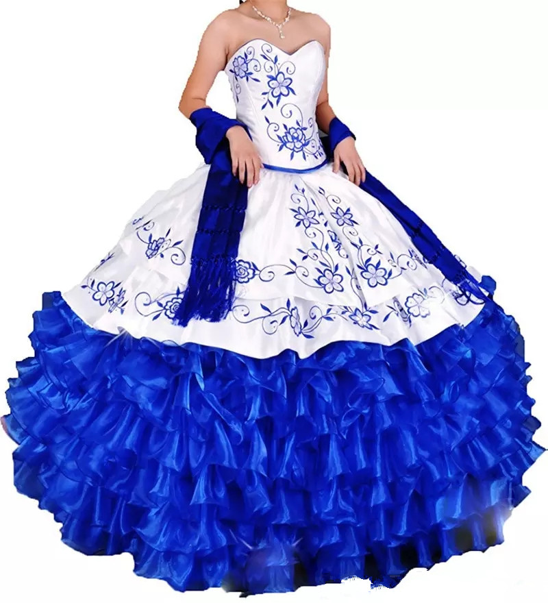 2019 Sexy White Blue Embroidery Ball Gown Quinceanera Dresses Lace Up Organza Plus Size Sweet 16 Dress Vestido Debutante Gowns
