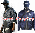 High Quality Watch Dogs 2 jacket men casual Marcus Holloway Costume winter coat Navy Blue suit Game Halloween Cosplay Costume