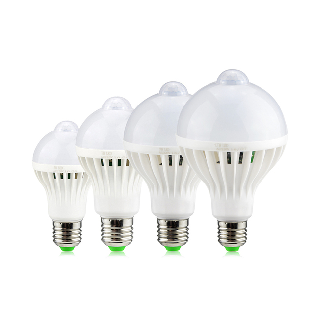 E27 220V 5w 7w 9w 12w LED Night light Sensor LED Bulb Lamp PIR Infrared Motion + Light Sensor For Corridor Aisle Stairs lighting