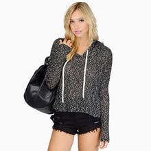 Hot sale! women fashion&sexy long seelve hoodies with a little transparent women sweatshirts LC147