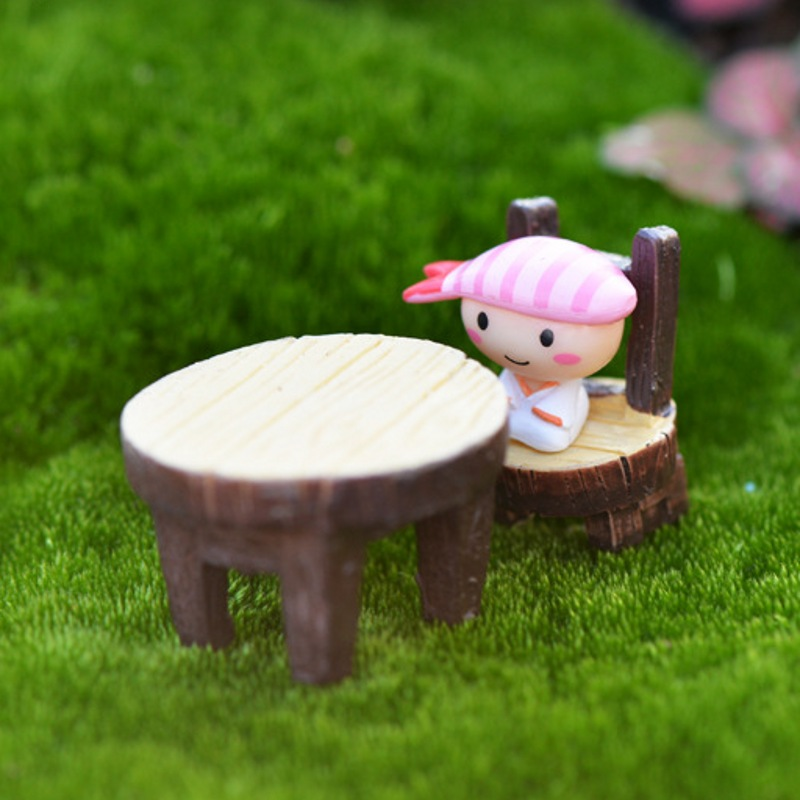 2Pcs/set Fashion Cute Mini Table Chair DIY Miniature Fairy Garden Resin Craft Home Decoration EN4351