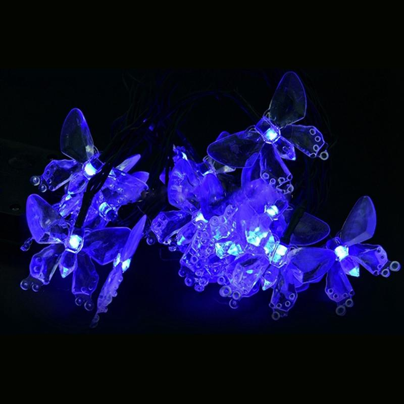 Waterproof Butterfly 20-LED Solar Powered Fiber Optic Fairy String Outdoor Garden Lights Holiday Festival Party Decoration