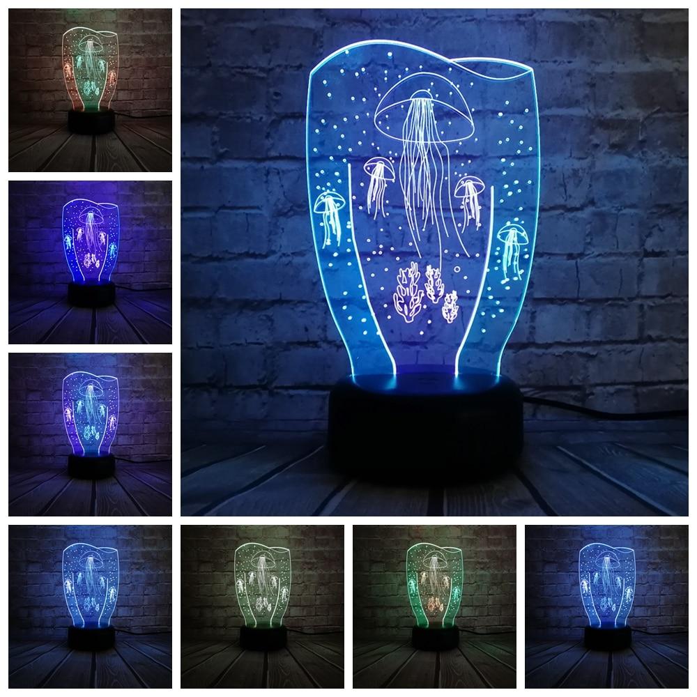 3d Led Jellyfish Night Light Simple Acrylic Lamp Baby Bedroom Night Light Creative Kids Birthday Valentines Day Gift Abs Resin Night Lights Tools Home Improvement