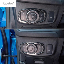 Lapetus Accessories Fit For Ford Focus 2019 2020 Head Lights Lamps Switch Button Frame Molding Cover Kit Trim Carbon Fiber ABS lapetus accessories for toyota camry 2018 2019 matte carbon fiber abs front head light switches button molding cover kit trim