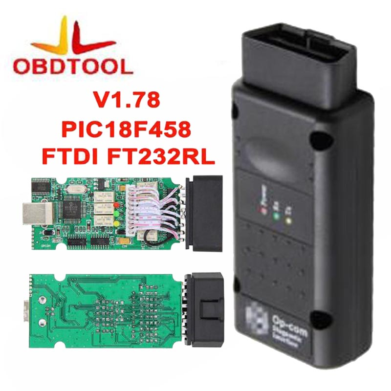 REAL 1.78 Diagnostic Cable OP COM + with PIC18F458 Chip OPCOM 2010 Adapter Obd2 Cable Adapter Interface