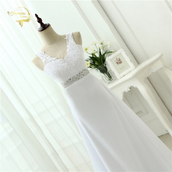 2019 Chinese Hand Made Beading Wedding Dress Chiffon Low Back Sexy Applique Lace Beach Vestidos De Novia Robe De Mariage JL0097 5