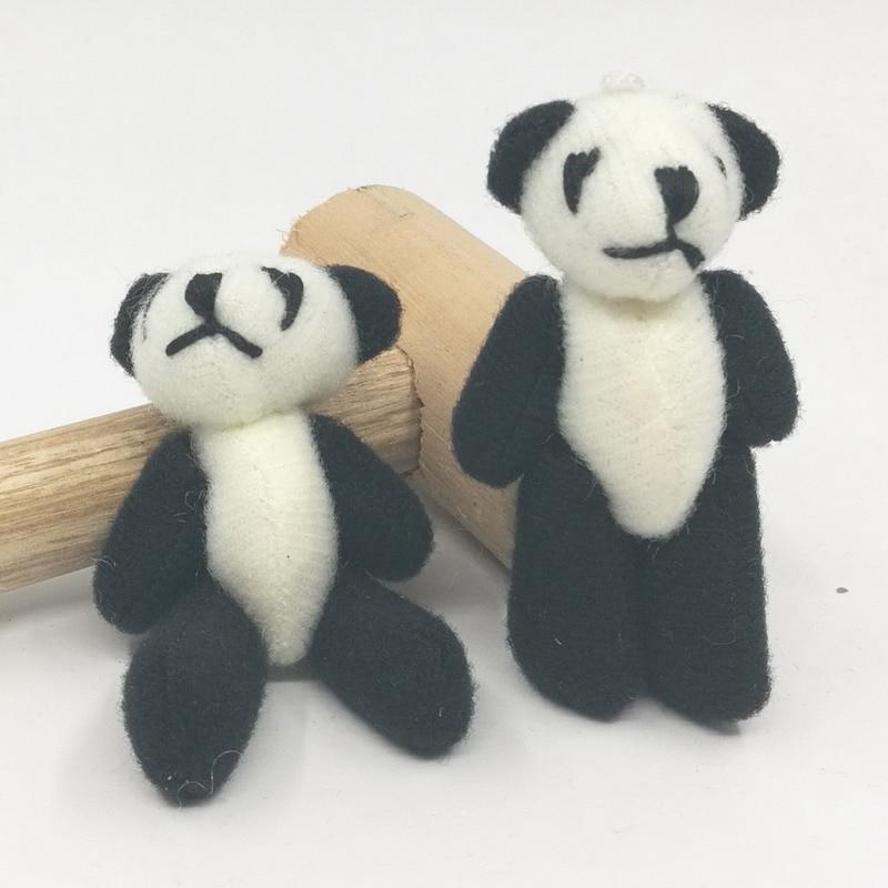 """الجملة 100 قطعة/الوحدة الحرفية مصغرة أفخم الباندا دمية دمية دب 6 سنتيمتر (2.4 """") أسود لون أبيض-في حيوانات قطيفة ومحشوة من الألعاب والهوايات على  مجموعة 1"""