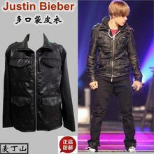 S-3XL новая мужская куртка Justinbieber tide of street Стиль много карманов кожаная куртка пальто классная певица платье костюмы одежда
