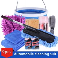 9pcs/set Vehicle Cleaning Kit To Wash Car Exterior & Interior Home Cleaning Kit Microfiber Towels Cleaning Kit