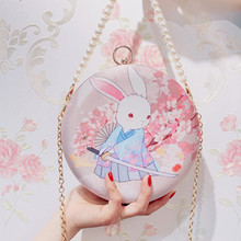 Angelatracy 2019 New Arrival Japan Style Pearl Fashion Rabbit Clasp Metal HanFu Circular Day Clutches Evening Bag Messenger