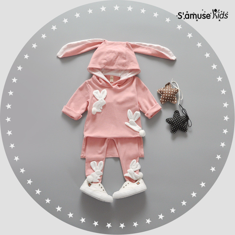 Baby Girl Clothes Korean Style Lovely Newborn Clothing Cute Cartoon Four Rabbits Long Ears Children Roupa Infantil Baby Apparel 2017 new fall mustard yellow children sets ruffle butterfly sleeves infants clothing baby girl nursing accessory apparel