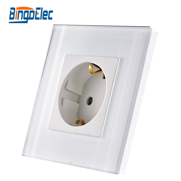 EU Standard Germany Wall Socket,white Crystal Toughened Glass Panel Power Socket, AC110-250V,Hot Sale