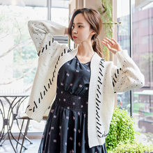 2018 Autumn Winter Women Retro White Sweaters Long Sleeve Black Ribbon Loose Open Stitch Hollow Out Cardigans Feme Knitwear Top(China)