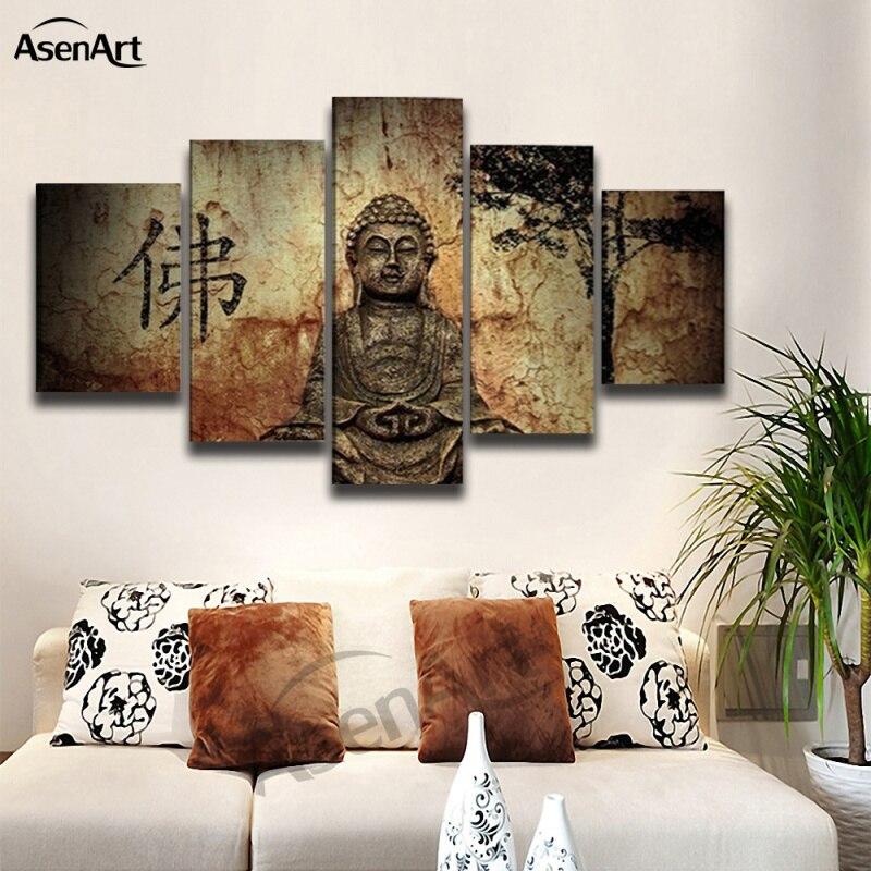 5 Panel Buddha Leinwand Spray Malerei Druck Wandbild für Wohnzimmer ...