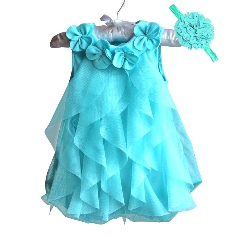 2018 Baby Girls Dress Summer Sleeveless Chiffon Dress Infant Birthday Party Dresses for Girl Clothes with Headband Vestidos baby girl 1st birthday outfits short sleeve infant clothing sets lace romper dress headband shoe toddler tutu set baby s clothes