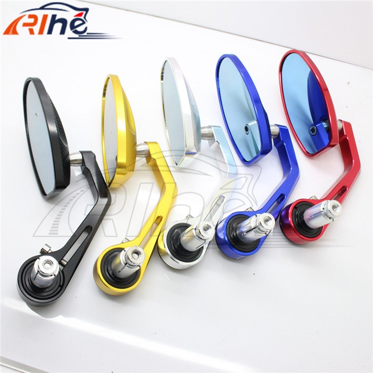 high quality brand new Single Side Handlebar Grips Bar End Rear View Side Mirror Motorcycle aluminum  Fit 7/8 5 colors optional motorcycle handlebar rear view mirror mount adapter holder pair