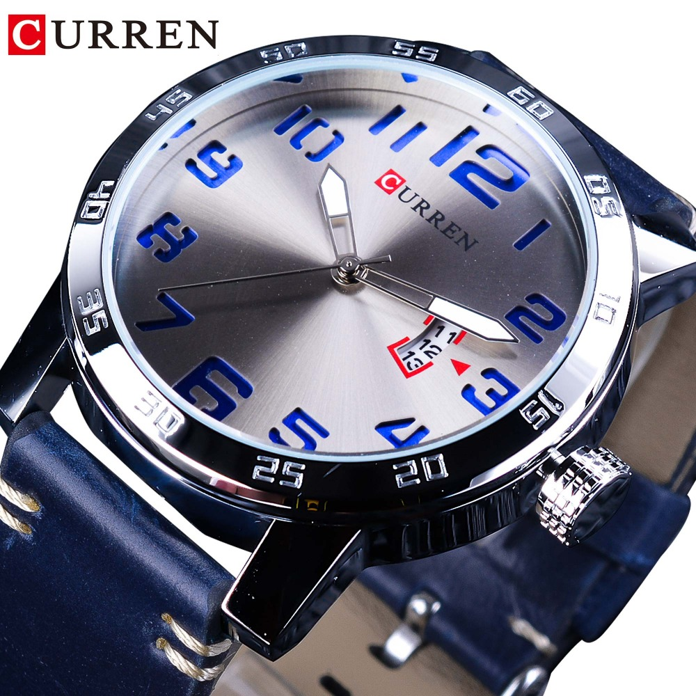 CURREN Calendar Display Blue Genuine Leather Belt 3D Laser Dial Mens Quartz Watches Waterproof Top Brand Luxury Hour Male Clock все цены