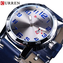 CURREN Calendar Display Blue Genuine Leather Belt 3D Laser Dial Mens Quartz Watches Waterproof Top Brand Luxury Hour Male Clock