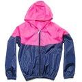 Hoodies masculinos protetor solar fina casacos Zipper Fly Casual completo manga Patchwork de cores de S-3XL manga confortável