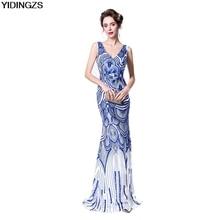 9b3f523c2d YIDINGZS Robe De Soirée Delgado Sirena del Azul Real de Cuello En V Con  Lentejuelas de