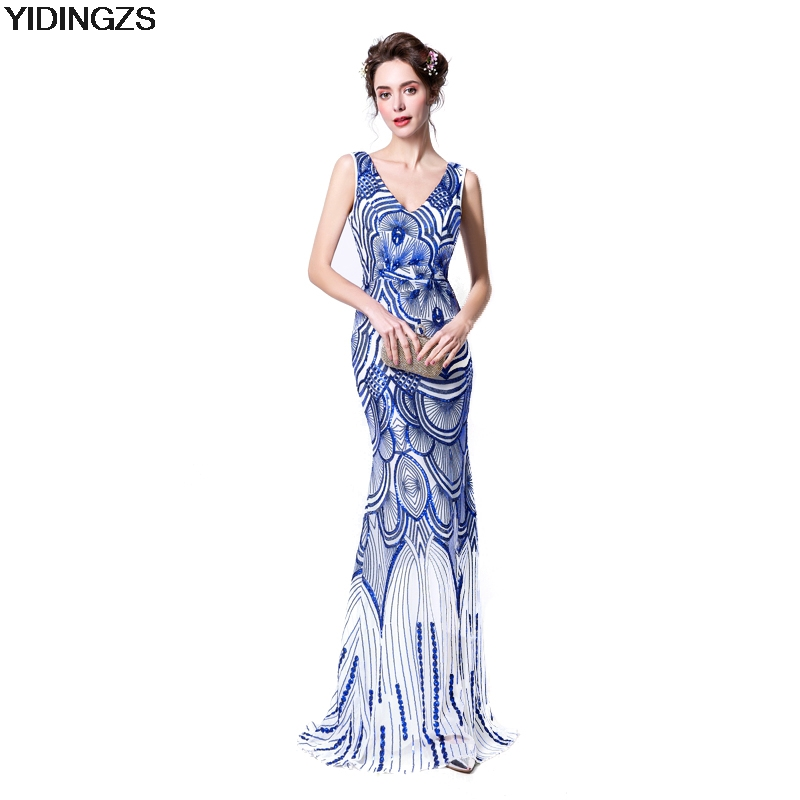 YIDINGZS Robe De Soiree Slim Mermaid Royal Blue V Neck Sequined Long Evening Dresses Fashion Prom