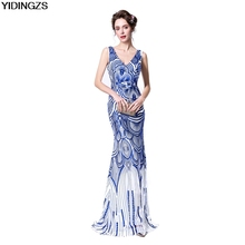 YIDINGZS Robe De Soiree Slim Mermaid Royal Blue V Neck Sequined Long Evening Dresses Fashion Prom Party Dresses