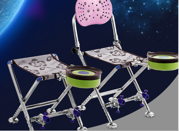 New stainless steel   portable fishing chair liftable horse bar multi-function folding fishing stool  free  shipping